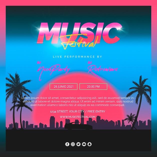 Vierkante berichtsjabloon voor muziekfestival van de jaren 80 Gratis Psd
