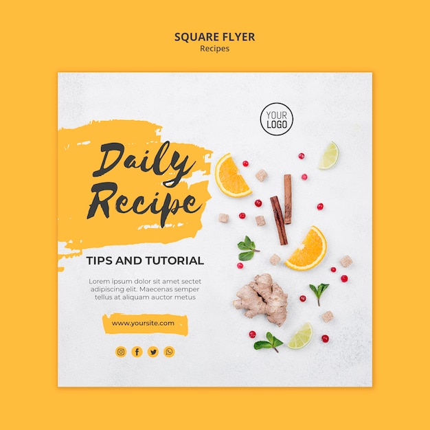 Vierkante flyer gezonde recepten sjabloon Gratis Psd