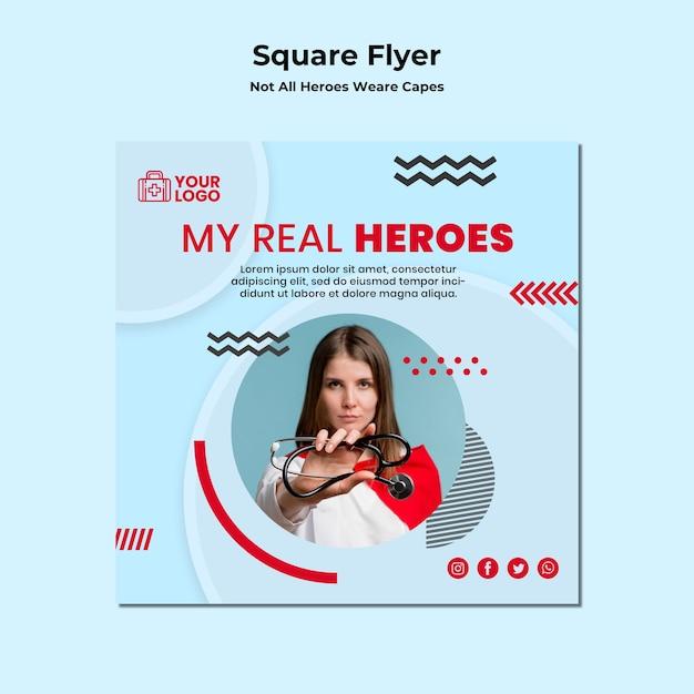Vierkante flyer niet alle helden dragen capes-sjabloon Gratis Psd