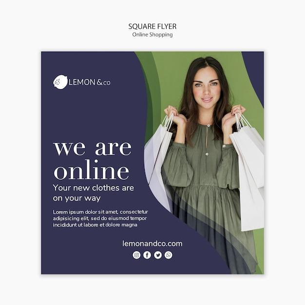 Vierkante flyer-sjabloon voor online mode-verkoop Gratis Psd