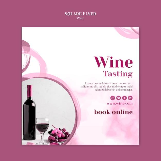 Vierkante flyer-sjabloon voor wijnproeven Gratis Psd
