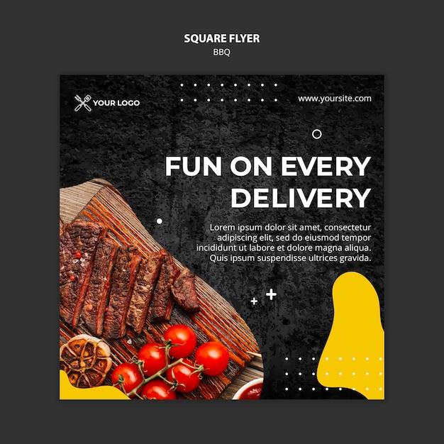 Vierkante flyer voor barbecuerestaurant Gratis Psd