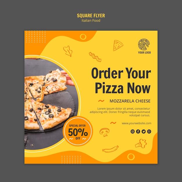 Vierkante flyer voor italiaans eten bistro Gratis Psd