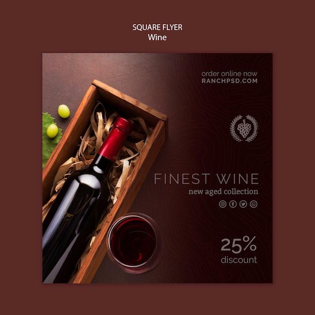 Vierkante flyer voor wijnproeverij met fles Gratis Psd