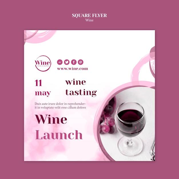 Vierkante flyer voor wijnproeverijen Gratis Psd