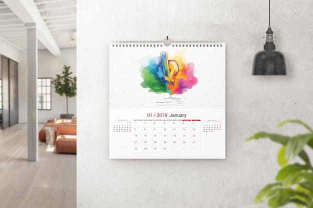 Vierkante wandkalender mockup Premium Psd