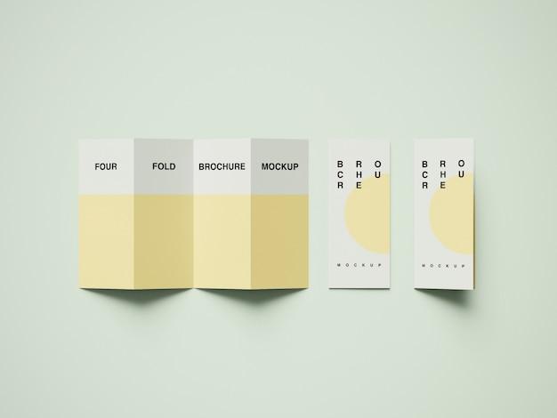 Viervoudig brochure mockup psd Premium Psd