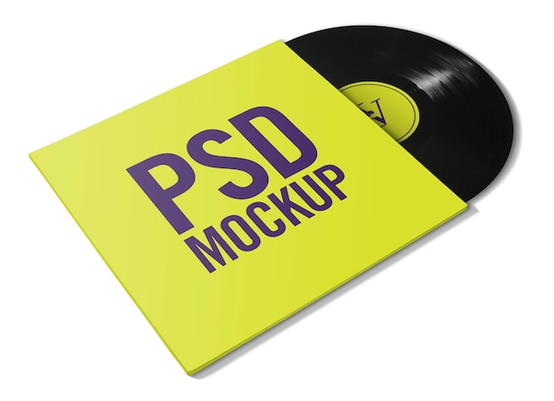 Vinile mockup con copertina Psd Premium