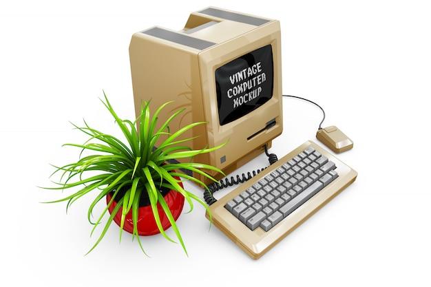 Vintage computer mock-up geïsoleerd Gratis Psd