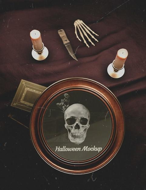 Vintage decoratie van halloween rond frame met schedel Gratis Psd