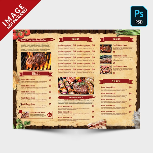 Vintage driebladige menu achterzijde Premium Psd