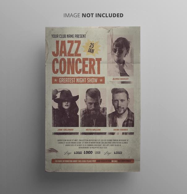 Vintage jazz flyer PSD Premium