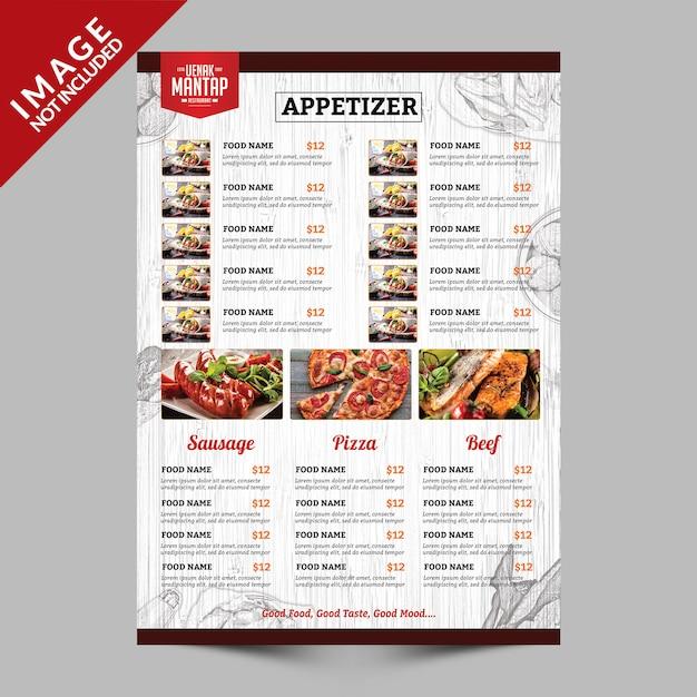 Vintage menu menukaart kant a Premium Psd