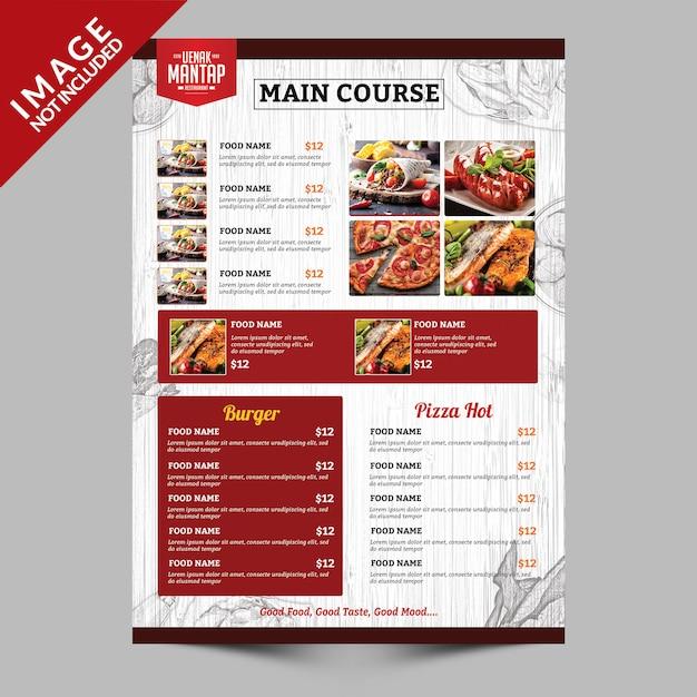 Vintage menu menukaart kant b Premium Psd