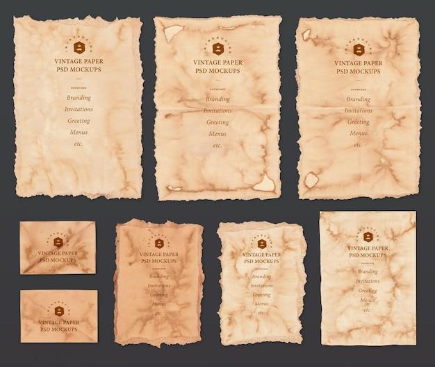 Vintage papieren mockup set Premium Psd