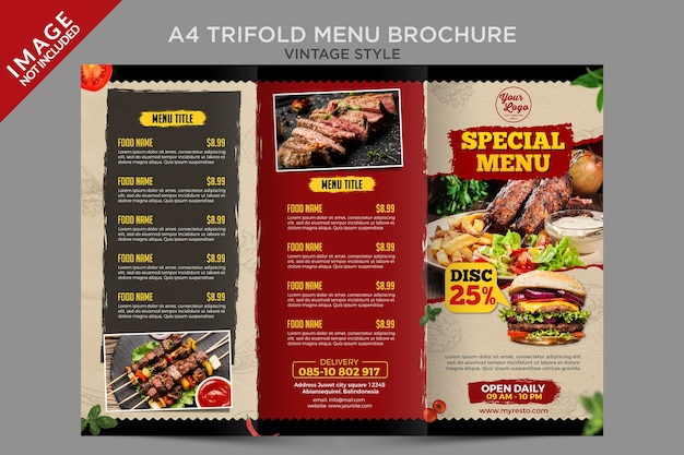 Vintage stijl driebladige menu brochure sjabloon Premium Psd