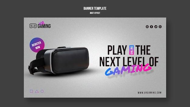 Virtual reality gaming sjabloon banner Gratis Psd