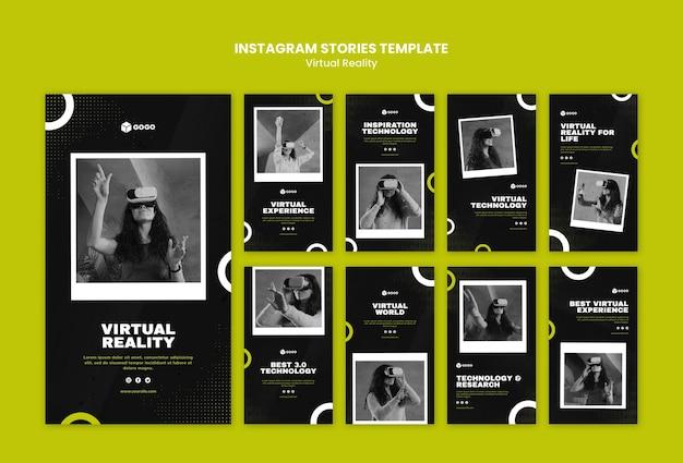 Virtual reality instagram-verhalen sjabloon Gratis Psd