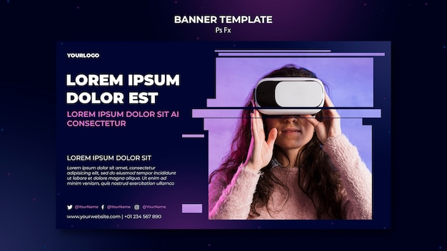 Virtual reality sjabloon banner Gratis Psd