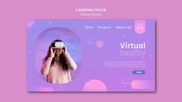 Virtuele realiteit spelen samen bestemmingspagina Premium Psd