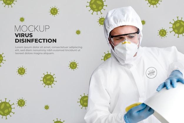 Virus desinfectie concept mock-up Gratis Psd