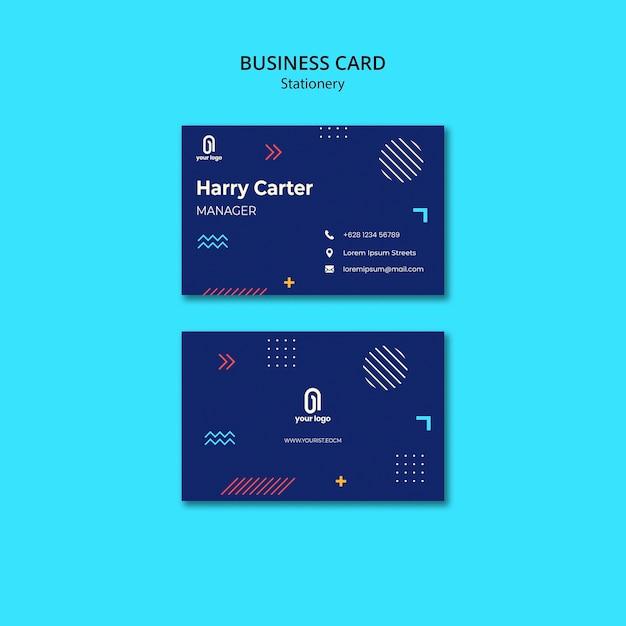Visitekaartje met blauw ontwerp en stippen met lijnen Gratis Psd