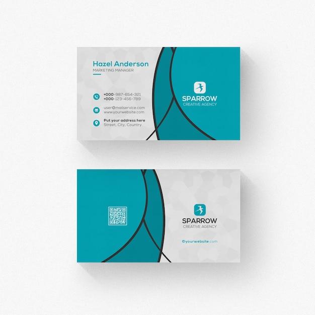 Visitekaartje met golvende vormen mockup geïsoleerd Premium Psd