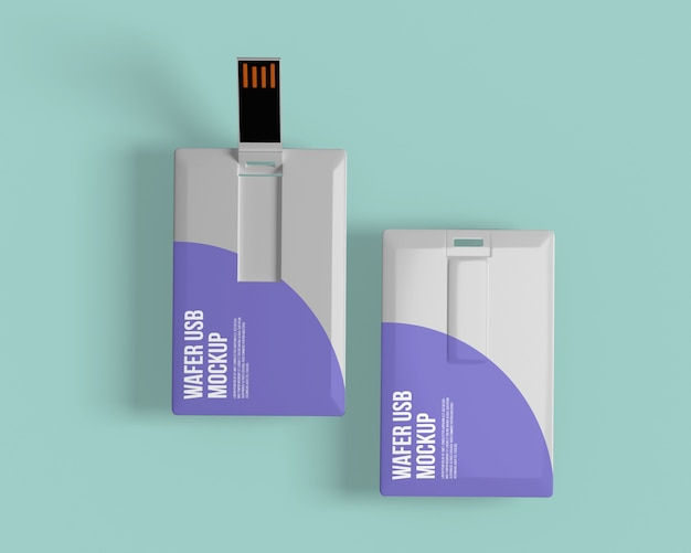 Visitekaartje met mockup voor usb-flashstation Premium Psd