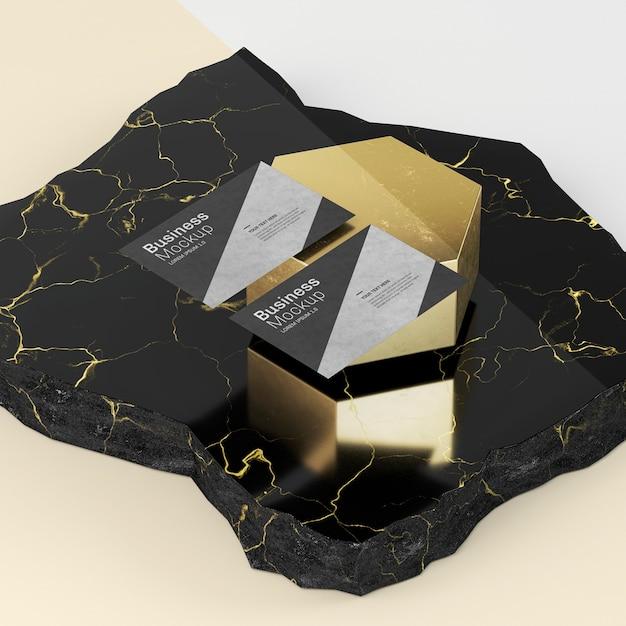 Visitekaartje mock-up luxe marmer met hoge weergave Gratis Psd