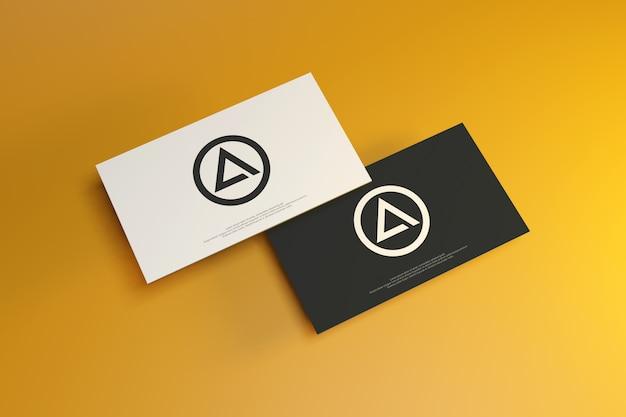 Visitekaartje mockup op gele achtergrond Premium Psd