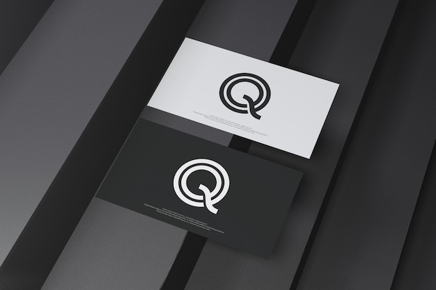Visitekaartje mockup op zwarte trap achtergrond Premium Psd