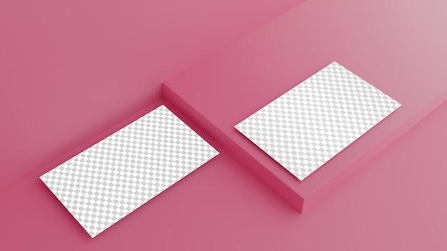 Visitekaartje op roze achtergrond Premium Psd