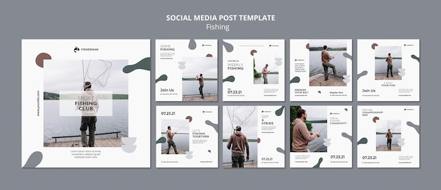 Visserij concept sociale media post sjabloon Gratis Psd