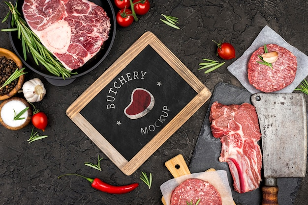 Vista anterior carnicería con carne de hamburguesas PSD gratuito