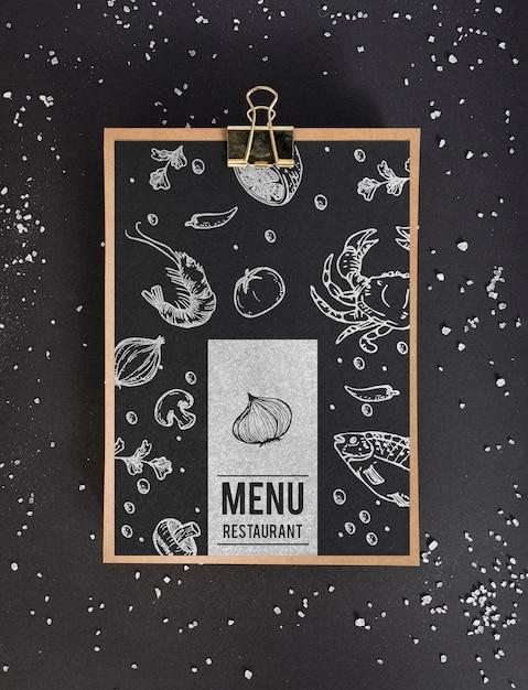 Vista dall'alto del concetto di menu di cibo mock-up Psd Gratuite