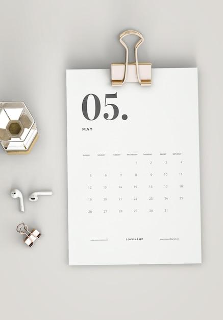 Vista dall'alto minimalista calendario mockup Psd Gratuite