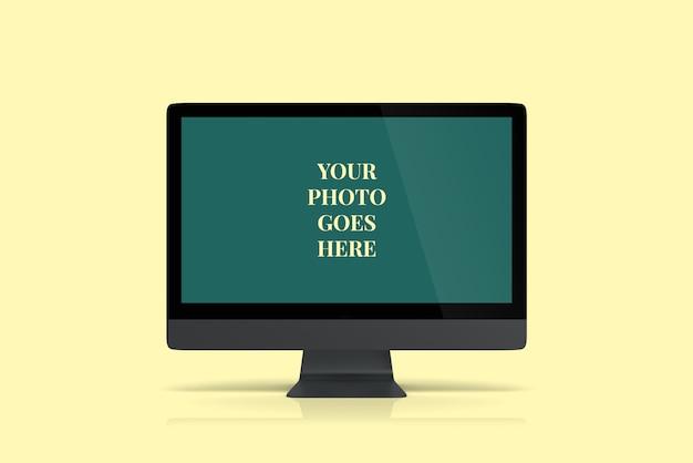 Vista di angolo frontale di mockup desktop grigio scuro Psd Premium