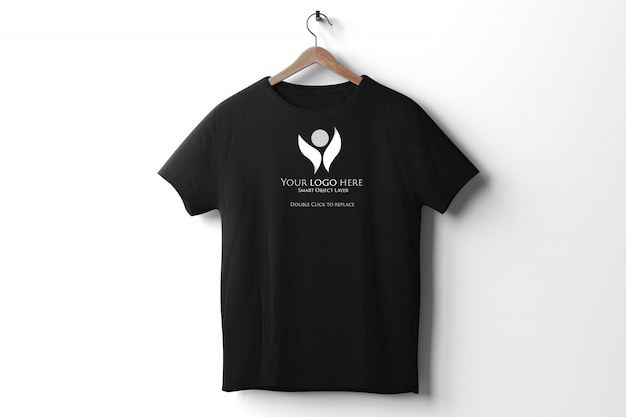 Vista di un modello di maglietta nera Psd Premium