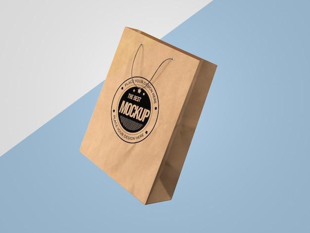 Vista frontal de la maqueta de la bolsa de papel de compras PSD gratuito