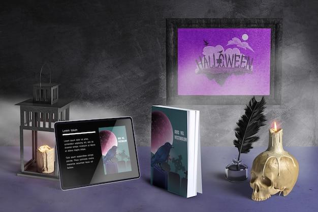 Vista frontal de la maqueta del concepto de halloween PSD gratuito