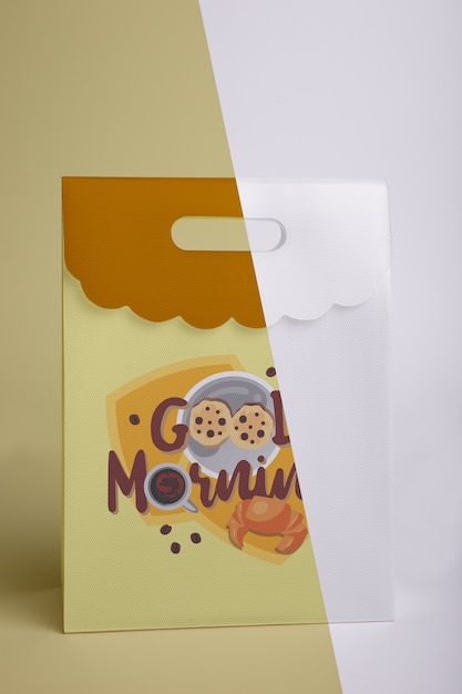 Vista frontale del sacco di carta per la colazione Psd Gratuite