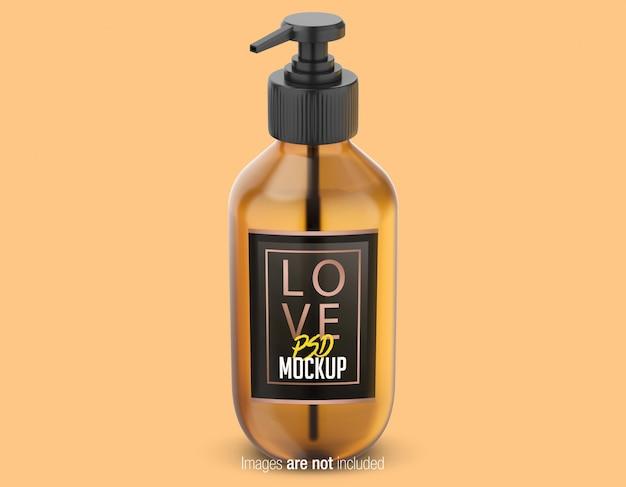 Vista frontale della bottiglia di olio psd mockup Psd Premium