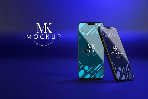 Vista frontale nuovi telefoni mock-up Psd Gratuite