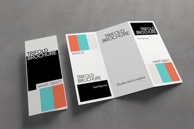Vista de una maqueta de folleto tríptico PSD Premium