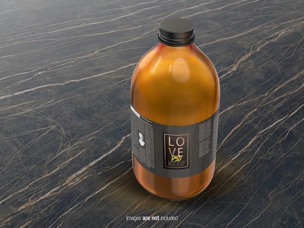 Vista prospettica della bottiglia di olio di media grandezza Psd Premium