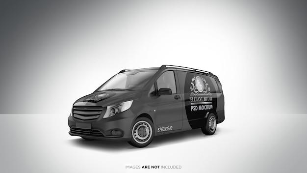 Vista prospettica di van vehicle psd mockup Psd Premium