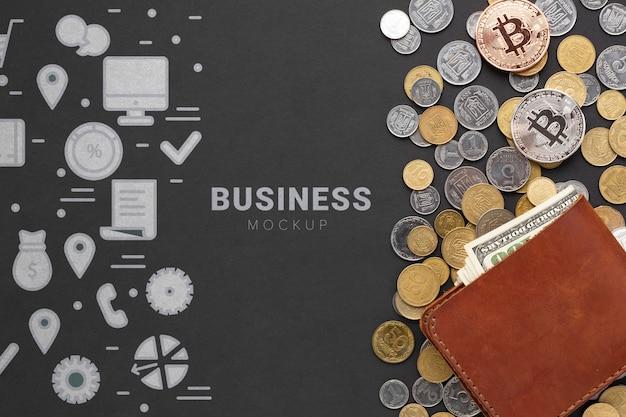 Vista superior criptomoneda y dinero PSD Premium