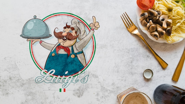 Vista superior de ingredientes de comida italiana con logo PSD gratuito