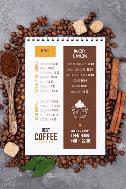 Vista superior maqueta de menú de café PSD gratuito