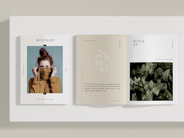Vista superior maqueta de revista editorial de mujer y naturaleza PSD gratuito